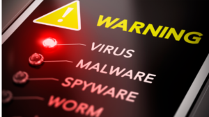 A screen shot of the screen of a cell phone that reads warning, virus, malware, spyware, and worm.