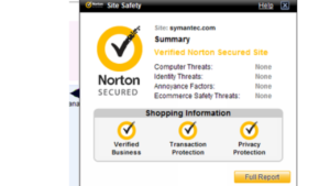 A screen shot picture of the norton virus protection website