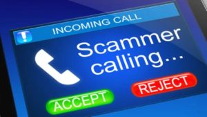 Screenshot picture of the words telephone scammer calling