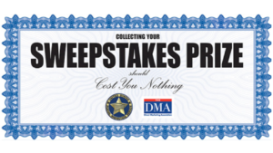 A screen shot picture of a Sweepstakes prize certificate