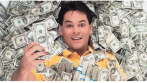 a picture of infomercial scams, and a white guy laying in money