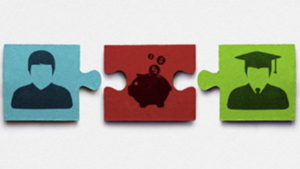 cartoon picture of financial aid scams (puzzle pieces)