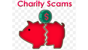 Charity Scams | Fake donations | victims of charity fraud | red pig cracked in half