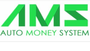 A screen shot of green letters AMS, Auto Money System