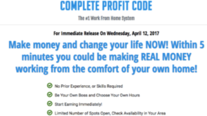 A screen shot of the Complete Profit Code website homepage