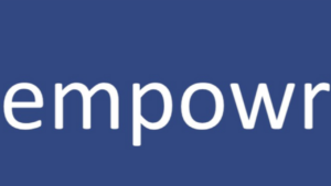 A blue and white screen shot of the word Empowr