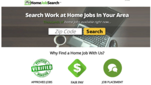 screenshot picture of my home job search website homepage