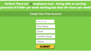 screenshot picture of my home job search website create your free account sign up page