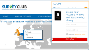 A screenshot picture of Survey Club website homepage
