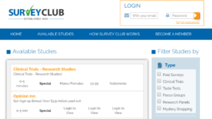 A screenshot picture of Survey Club website available survey page
