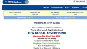 A screen shot picture of THWGlobal.com website homepage