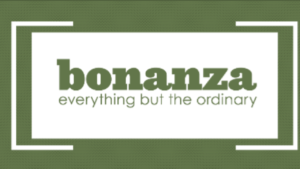 "A green and white screen shot of ""bonanza everything but ordinary"""