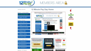 A screen shot of 12 minute pay day website members area