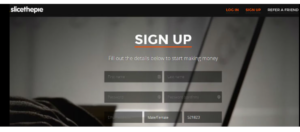A screen shot of the SliceThePie websites sign up page
