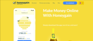 A screen shot picture of the HoneyGain website homepage