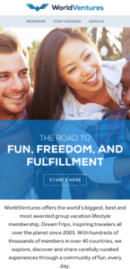 a screen shot of the world ventures website homepage
