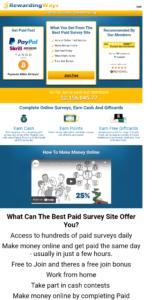 screenshots of the RewardingWays website homepage