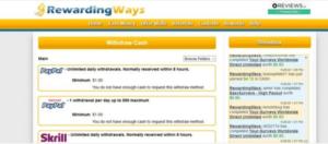 screenshots of the RewardingWays website