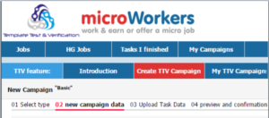 screenshots of the Microworkers website dashboard